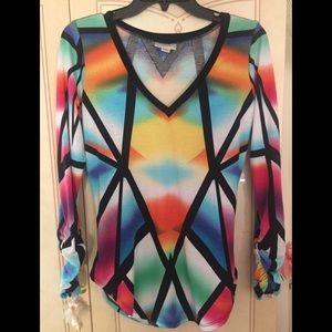 Colorful long sleeve blouse